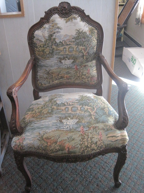 Tapestry upholstery on a chair