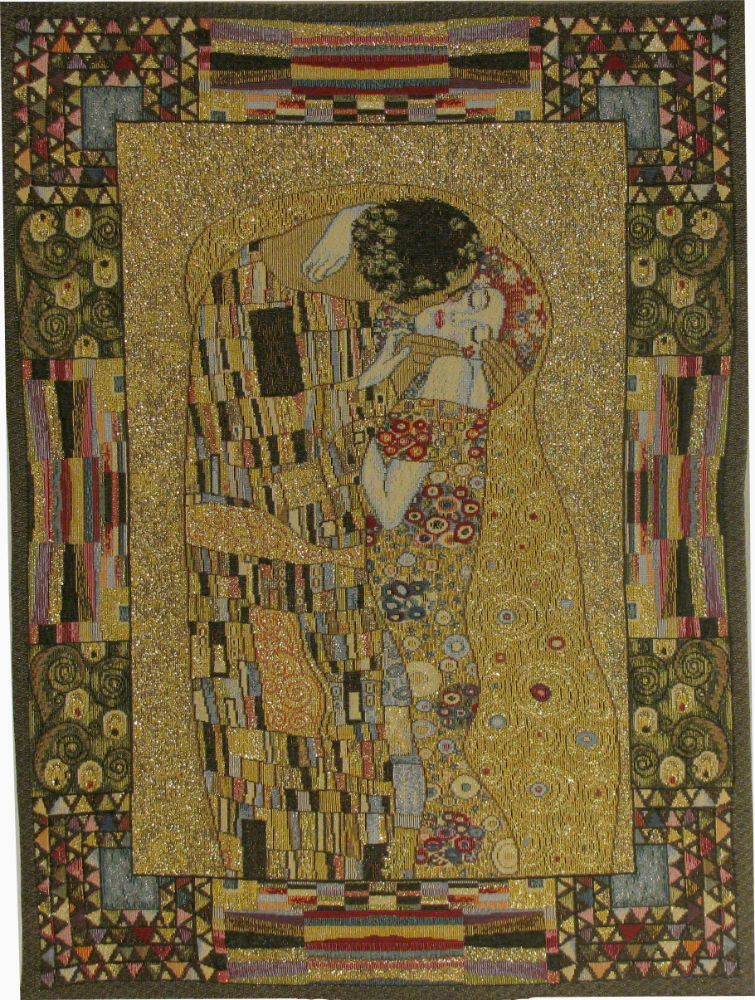 The Kiss small tapestry - Gustav Klimt Art Nouveau design