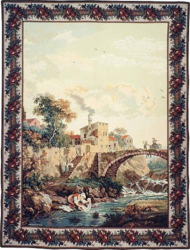 The Old Bridge and Town tapestry - Italian wall-hanging