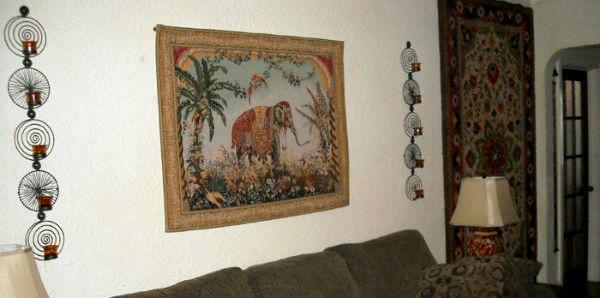 European wall-hanging tapestries - maps, animals, birds, oriental