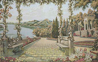 Lake Como wall tapestry - Italian Villa d'Este tapestries