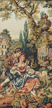 Love at the Old Mill tapestry - Noble Pastorale wall tapestries