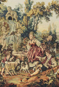 Rococo Waterfall tapestry - Noble Pastorale wall tapestries