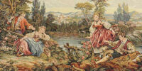 Two Couples at the Lake tapestry - rococo wall tapestries