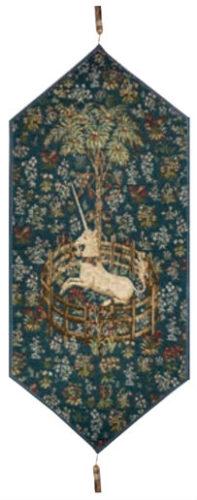 Captive Unicorn table runner - Metropolitan Cloisters tapestries