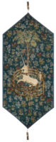Captive Unicorn table runner - Metropolitan Cloisters tapestries