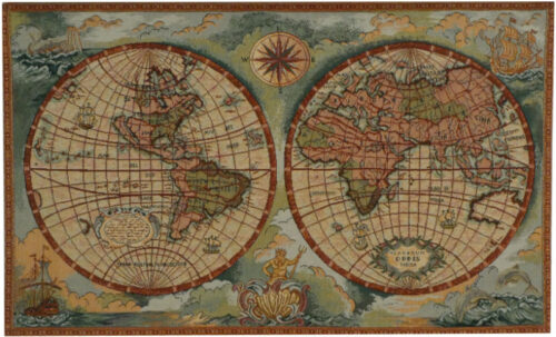 Mappa Antica tapestry - antique world map tapestries