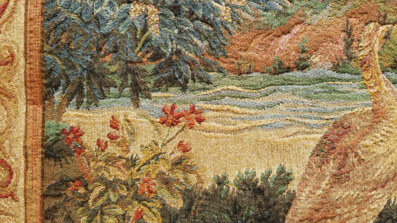 Detail of the Verdure-aux-Oiseaux tapestry