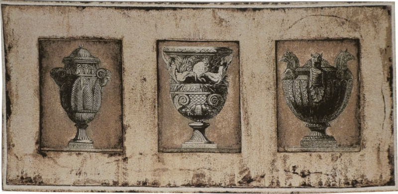 Les Vases Romanines tapestry wall-hanging - three classical vases