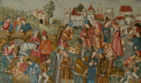 Marché au Vin tapestry - Wine Market medieval wall-hanging