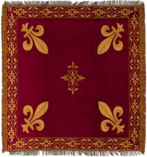 Burgundy Fleur de Lys throw - table cloth or throw woven in France