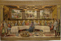 The Sistine Chapel Last Supper tapestry -- fresco by Cosimo Rosselli