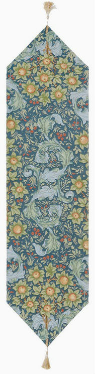 Blue Orange Tree with Acanthus Leaves table runner - William Morris style