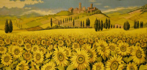 Sunflowers in Tuscany wall tapestry - Italian wall-hanging