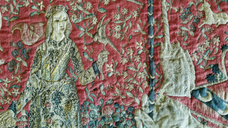 Taste wall tapestry close-up detail - Lady with the Unicorn tapestries