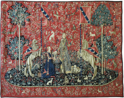 Taste wall tapestry hanging - Lady with the Unicorn tapestries