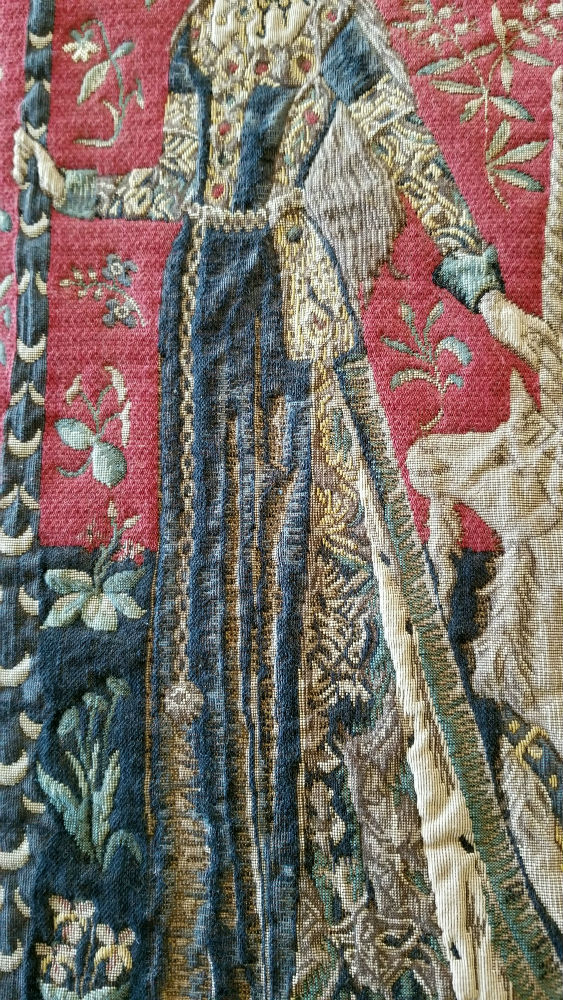 The Touch tapestry close-up detail - Lady with the Unicorn tapestries
