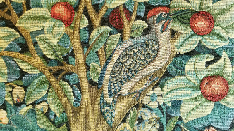 Woodpecker Tapestry by William Morris detail