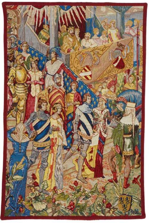 Descent to the Tournament tapestry - Manufacture Royale des Gobelins