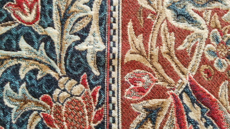 Detail of Essex throw by William Morris