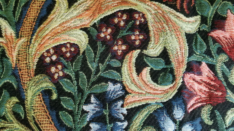 Detail of Golden Lily throw by William Morris