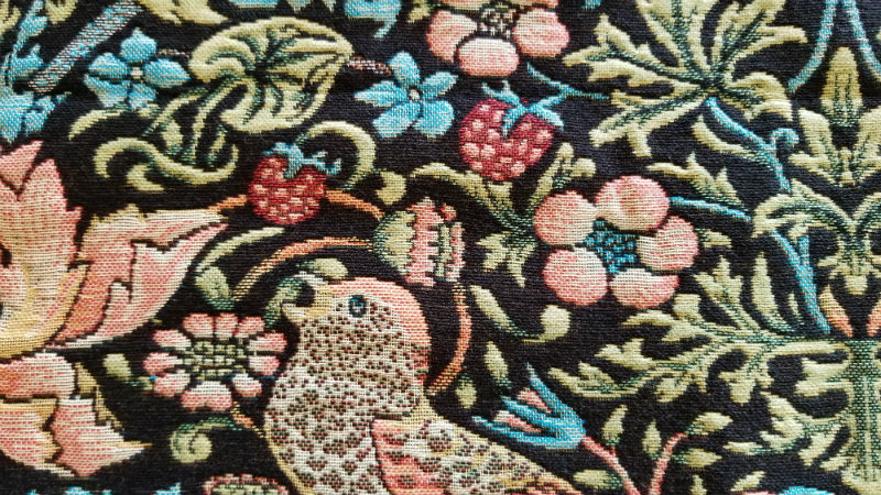 Strawberry Thief throw by William Morris detail