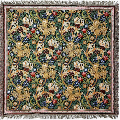 Golden Lily throw by William Morris - Morris & Co fabric