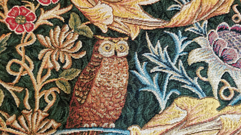 Owl and Pigeopn tapestry by William Morris detail